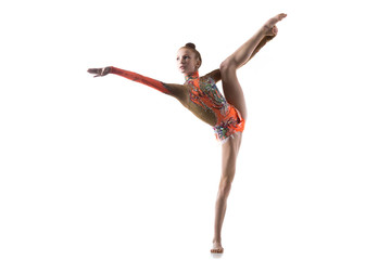 Teenage dancer girl doing standing splits