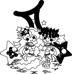 Illustration reflecting the image of Gemini of the horoscope.