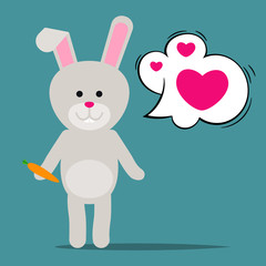 Easter rabbit or Funny bunny with hearts in speech bubble. Vector illustration