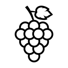 Bunch of grapes with leaf line art icon for food apps and websites
