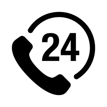 24 hour customer phone service flat icon for apps and websites