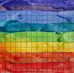 Rainbow watercolor background on math paper