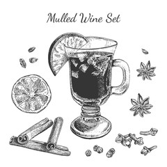 Ink hand drawn mulled wine set