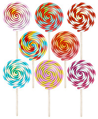 Candy on stick with twisted design. EPS 10