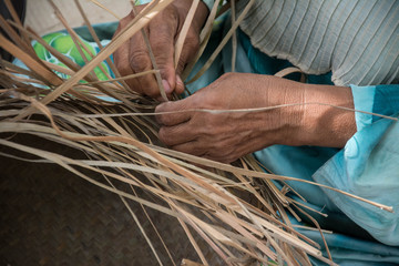 Weaving a wicker basket by handmade,Thailand