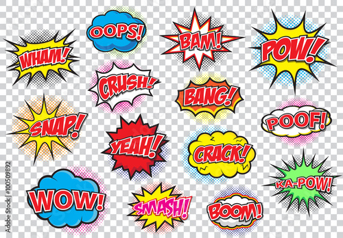 Comic speech bubbles set, comic wording sound effect set