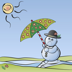 Bye-bye Winter: Melting snowman with umbrella in the sunlight symbolizing the end of winter