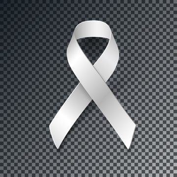 White Ribbon Alliance for Safe Motherhood, with transparent shadow isolated on dark background, vector design element.