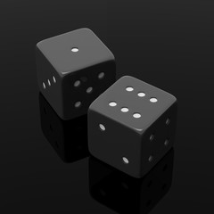 Two black dices one and six, isolated on black background