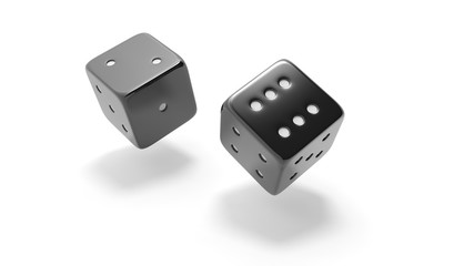 Two black dices ralling two and six, isolated on white background