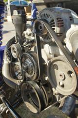 Closeup photo of a clean motor block in sport car