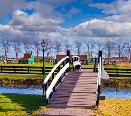 Sunny spring scene in Zaanstad willage in sunny day.