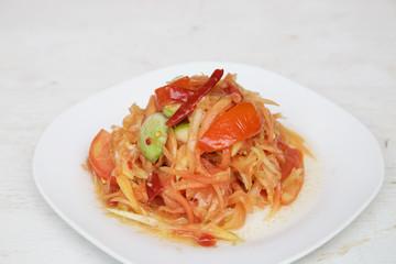 Papaya salad Thai cuisine spicy delicious