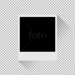 Photo frame with shadow on a plaid background