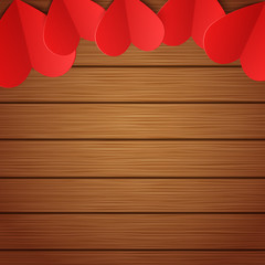 Vector wooden background with red paper hearts, Valentines day backdrop with copy space for your design