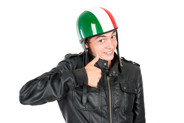 Teen with helmet