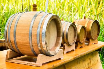 old wooden oil casks