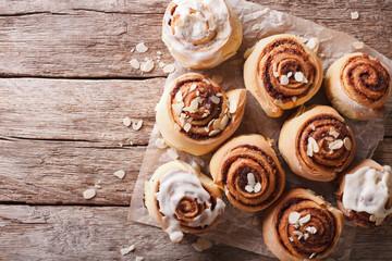 Cinnamon rolls on the table. horizontal top view