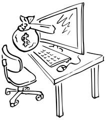 Lijntekening diefstal van computer geld
