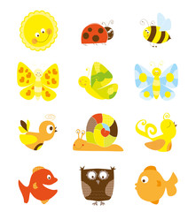 set of nice cartoon little smiling creatures and the sun - for children
