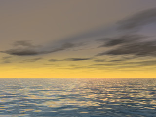 Conceptual sea or ocean water waves and sunset sky background