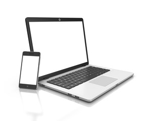 Modern Laptop and smartphone isolated on white.