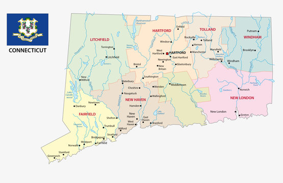 connecticut administrative map with flag