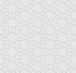 Arabesque Star Pattern with Emboss Effect, Light Grey Background