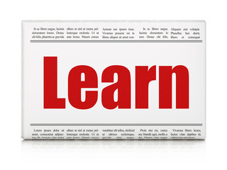 Studying concept: newspaper headline Learn