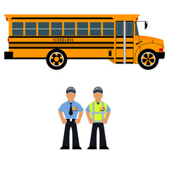 Vector illustration school bus and school bus driver
