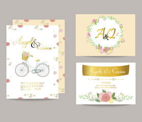 Light pink blue gold invitation card with bicycle bouquet