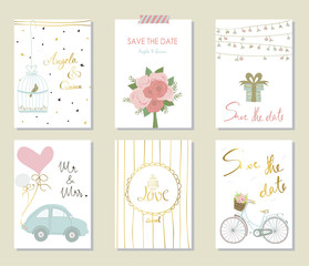 Light pink blue gold invitation card with bicycle and bouquet