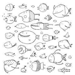 Cartoon Bizarre Fish Collection for Kids Hand Drawn Black Outline