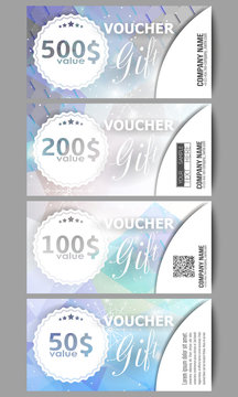 Set of modern gift voucher templates. Blue abstract winter background. Christmas vector style with snowflakes
