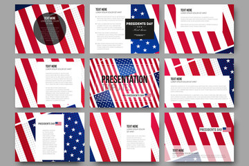 Set of 9 templates for presentation slides. Presidents day background with american flag, abstract vector illustration