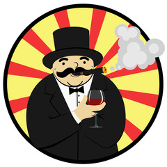 cartoon man smoking a cigar and drinking alcohol