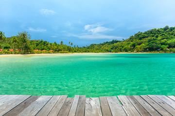 Wall Mural - Wooden terrace beside tropical beach at Koh Kood island,Thailand