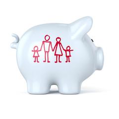 Weisses Sparschwein, Familie, sparen, Icon, Familienkasse