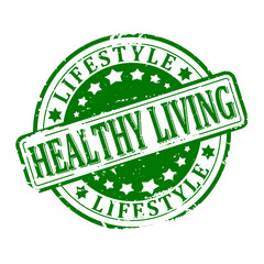 Scratched green round stamped - healthy living, lifestyle - vector svg