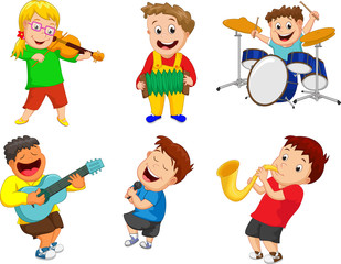 Illustration of children playing music instrument