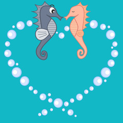 cute lovely cartoon seahorses in love romantic vector illustration