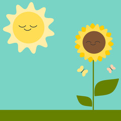 cute cartoon greeting card with sunflower and sun vector illustration