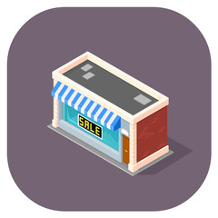 Isometric vector illustration of a shop. Isometric 3d icons for retail and shopping.
