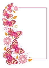 Vertical  frame with colored butterflies