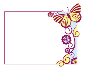 Horizontal  frame with colored butterflies