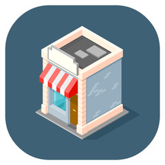 Isometric vector illustration of a shop.