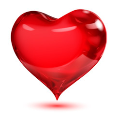 Big transparent glossy red heart with shadow on white background