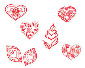 red heart painted pattern hand