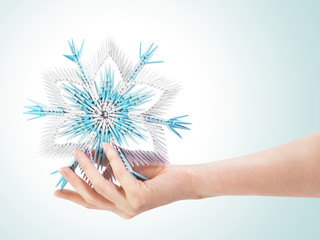 Snowflake in a hand