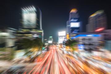 traffic jam in The city lights. Radial blur.